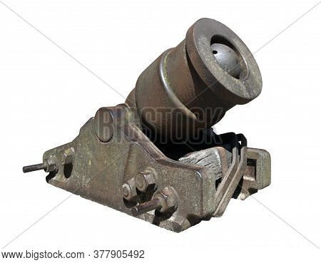 Old Cannon Over White Background. Ancient Cannon.