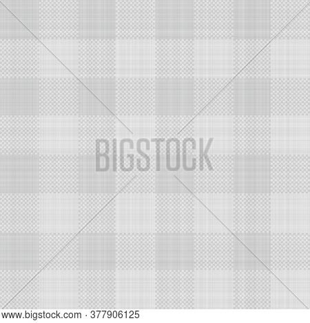 Seamless French Blue White Farmhouse Style Gingham Texture. Woven Linen Check Cloth Pattern Backgrou