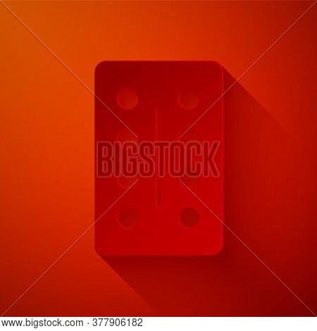 Paper Cut Pills In Blister Pack Icon Isolated On Red Background. Medical Drug Package For Tablet, Vi