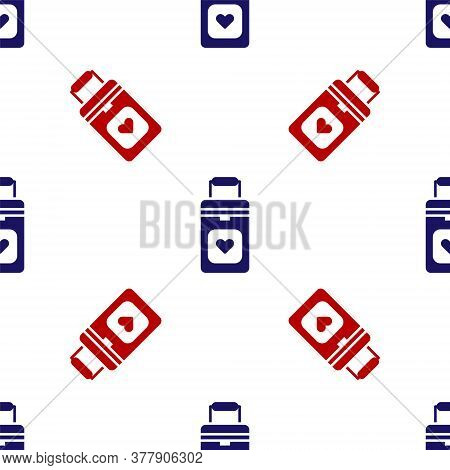 Blue And Red Cooler Box For Human Organs Transportation Icon Isolated Seamless Pattern On White Back