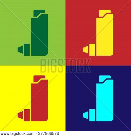 Pop Art Inhaler Icon Isolated On Color Background. Breather For Cough Relief, Inhalation, Allergic P