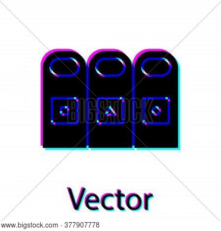 Black Trash In Garbage Cans With Sorted Garbage Icon Isolated On White Background. Recycle Basket Ic