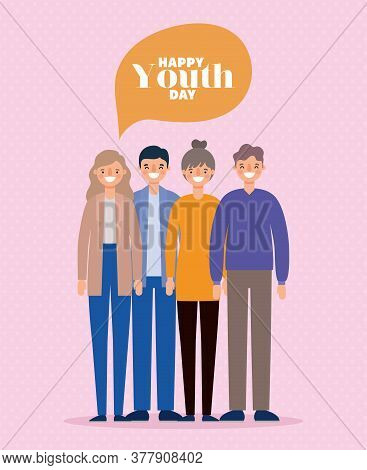 Women And Men Cartoons Smiling Of Happy Youth Day Design, Young Holiday And Friendship Theme Vector