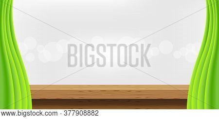Wood Table And Luxury Green Curtains For Advertise Product Display, Empty Wooden Top Table Decoratio