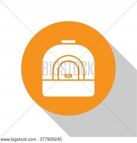 White Oven Icon Isolated On White Background. Stove Gas Oven Sign. Orange Circle Button. Vector Illu