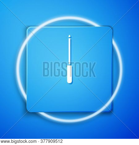 White Knife Sharpener Icon Isolated On Blue Background. Blue Square Button. Vector Illustration