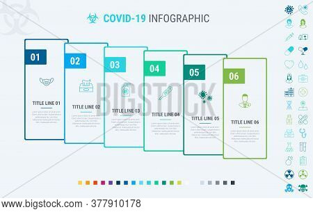 Timeline Covid-19 Infographic Design Vector. 6 Steps, Graph Workflow Layout. Vector Coronavirus Info