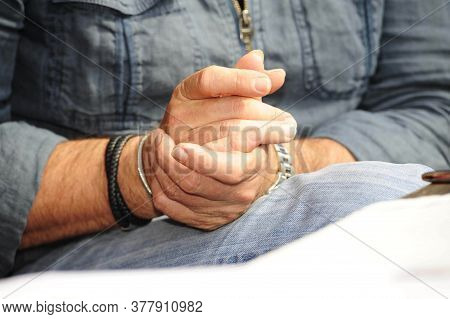 One Hand Touching The Other, Person In Denim Clothing, Human Tactile And Haptic Perception