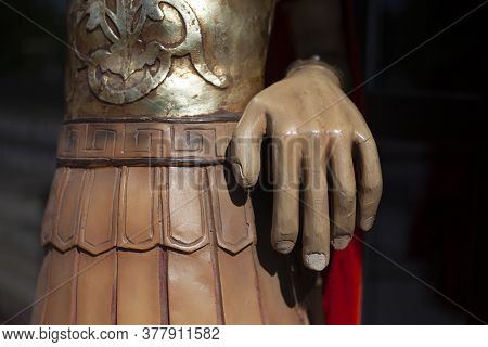 Roman Armor. War Clothes In Rome. Sculpture Of A Person From Pre-christian Times.