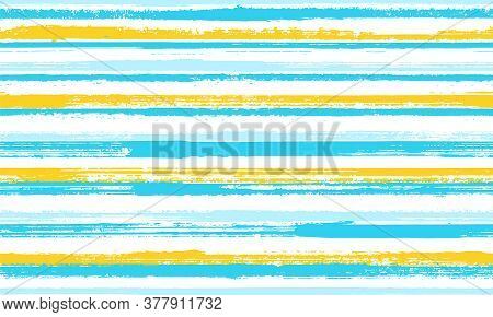 Ink Thin Parallel Lines Vector Seamless Pattern. Classic Maritime Shirt Textile Design. Old Style Te