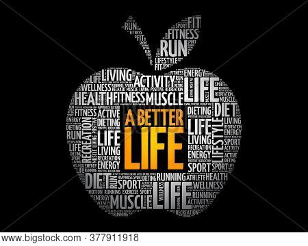 A Better Life Apple Word Cloud, Health Concept Background