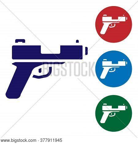 Blue Pistol Or Gun Icon Isolated On White Background. Police Or Military Handgun. Small Firearm. Set
