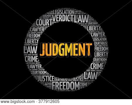 Judgement Circle Word Cloud, Law Concept Background