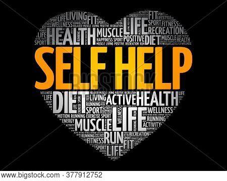 Self Help Heart Word Cloud, Fitness, Sport, Health Concept