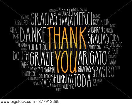 Thank You Word Cloud Art Background, All Languages, Multilingual For Education Or Thanksgiving Day