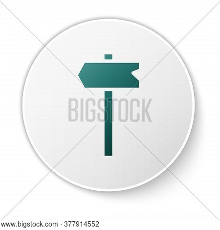 Green Road Traffic Sign. Signpost Icon Isolated On White Background. Pointer Symbol. Isolated Street