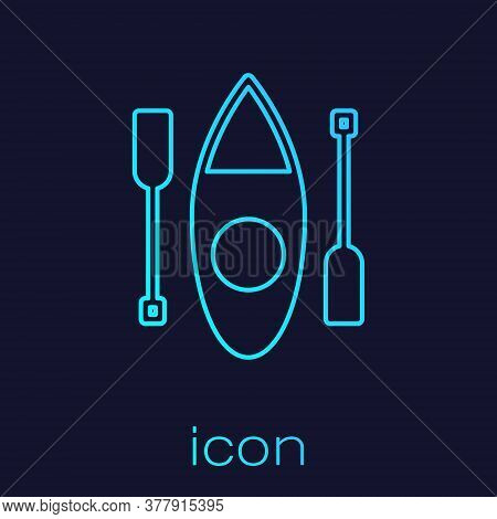 Turquoise Line Kayak And Paddle Icon Isolated On Blue Background. Kayak And Canoe For Fishing And To