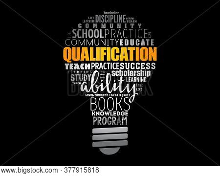 Qualification Light Bulb Word Cloud, Education Business Concept Background