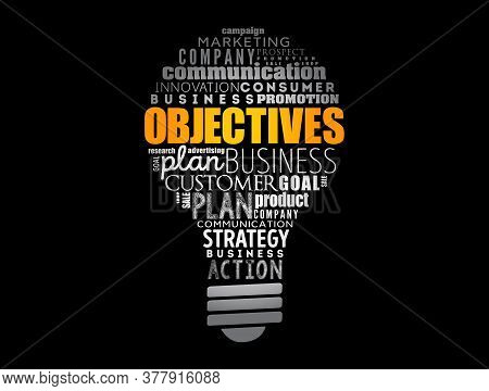 Objectives Light Bulb Word Cloud Collage, Business Concept Background