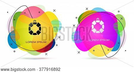 Color Lifebuoy Icon Isolated On White Background. Lifebelt Symbol. Abstract Banner With Liquid Shape