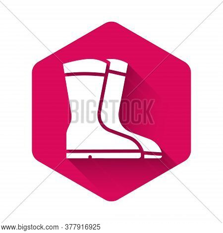 White Fishing Boots Icon Isolated With Long Shadow. Waterproof Rubber Boot. Gumboots For Rainy Weath