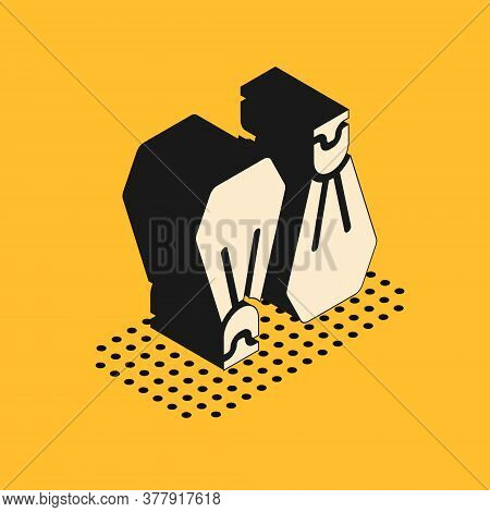 Isometric Rubber Flippers For Swimming Icon Isolated On Yellow Background. Diving Equipment. Extreme