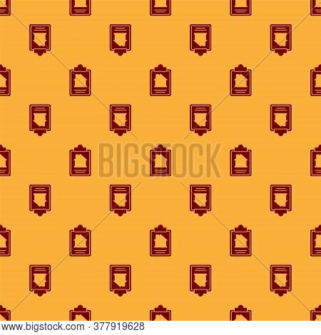 Red House Contract Icon Isolated Seamless Pattern On Brown Background. Contract Creation Service, Do