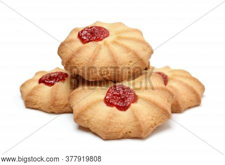 Heap Of Fresh Shortbread Cookies Isolated On White. Front View, Horizontal.