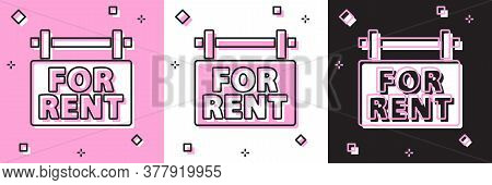 Set Hanging Sign With Text For Rent Icon Isolated On Pink And White, Black Background. Signboard Wit