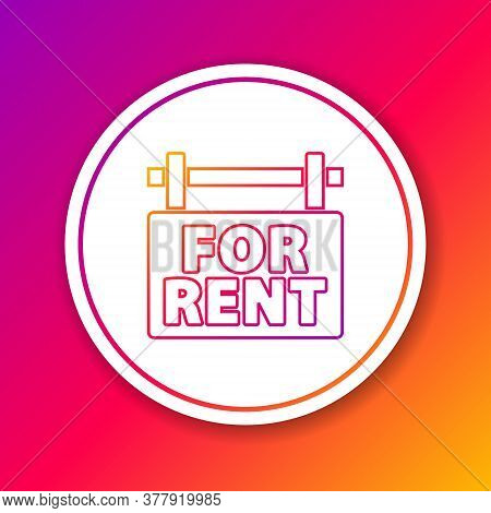 Color Line Hanging Sign With Text For Rent Icon Isolated On Color Background. Signboard With Text Fo