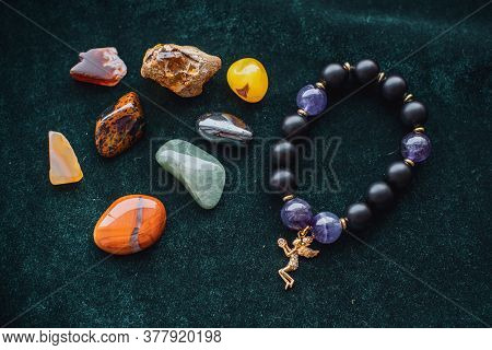 Various Colorful Stones Quartz, Marbles, Ore Minerals, Gems Use As Ornament And Decoration Jewelry T