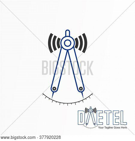 Logo, Design, Vector, Icon, Idea, Concept, Image, Abstract, Graphic, Symbol, Caliper And Signal, Whi