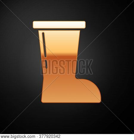 Gold Waterproof Rubber Boot Icon Isolated On Black Background. Gumboots For Rainy Weather, Fishing,