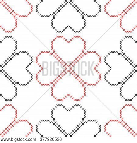 Hearts. Geometric Background. Imitation Cross Stitch. Seamless Decorative Design For Valentine Day A