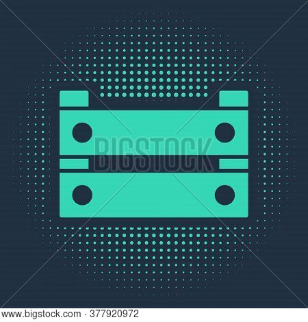 Green Wooden Box Icon Isolated On Blue Background. Grocery Basket, Storehouse Crate. Empty Wooden Co