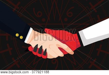 Concept Of Hand Shaking Between Businessman And Devil On Dark Background With Magic Circle. Deal For
