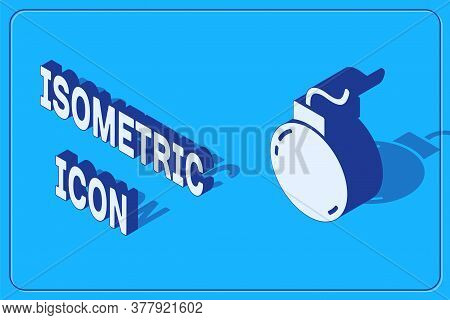 Isometric Bomb Ready To Explode Icon Isolated On Blue Background. Vector