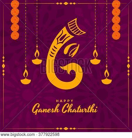 Indian Lord Ganesh Utsav Festival Card Design