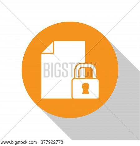 White Document And Lock Icon Isolated On White Background. File Format And Padlock. Security, Safety
