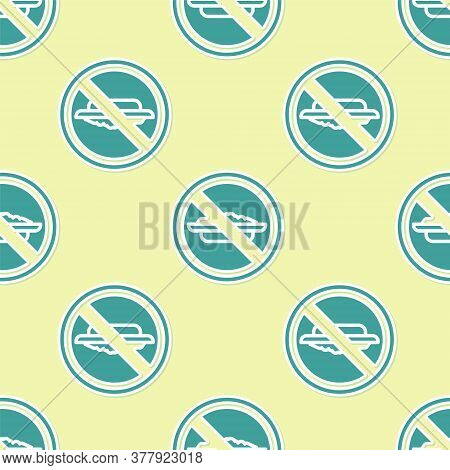 Green Food No Diet Icon Isolated Seamless Pattern On Yellow Background. Healing Hunger. Vector