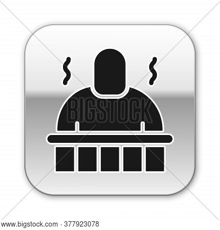 Black Sauna And Spa Procedures Icon Isolated On White Background. Relaxation Body Care And Therapy,