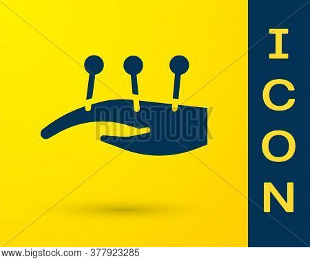 Blue Acupuncture Therapy On The Hand Icon Isolated On Yellow Background. Chinese Medicine. Holistic