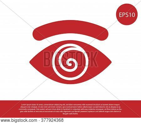 Red Hypnosis Icon Isolated On White Background. Human Eye With Spiral Hypnotic Iris. Vector