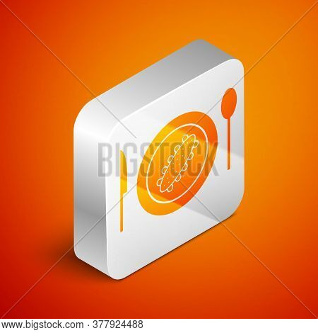 Isometric Served Cucumber On A Plate Icon Isolated On Orange Background. Marine Food. Silver Square