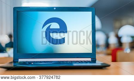Poznan, Pol - May 15, 2020: Laptop Computer Displaying Logo Of Microsoft Edge, A Web Browser Develop