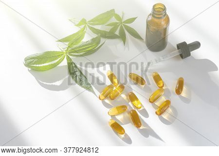 Herbal Dietary Supplements And Vitamins D, A Or E  Decorated With Green Leaves On White Background.
