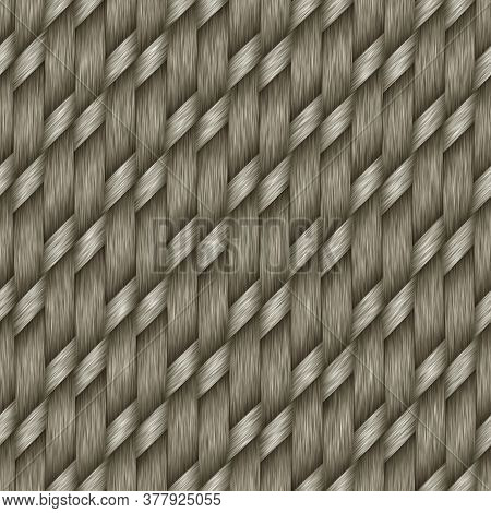 Seamless Woven Yarn Texture Background. Realistic Wool Thread Warp Weft Effect Pattern. Faux Woven A