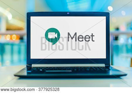 Poznan, Pol - May 6, 2020: Laptop Computer Displaying Logo Of Google Meet, A Video Communication Ser