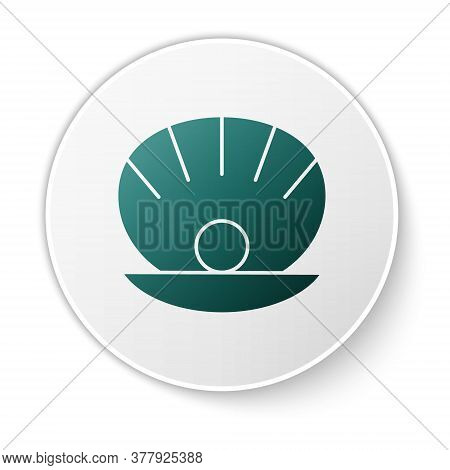 Green Natural Open Shell With Pearl Icon Isolated On White Background. Scallop Sea Shell. Seashell S