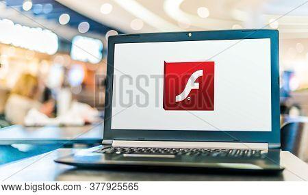 Poznan, Pol - May 21, 2020: Laptop Computer Displaying Logo Of Adobe Flash, A Deprecated Multimedia